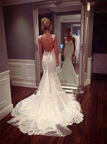 #Stunning #Backless #Wedding #Dress #Fishtail