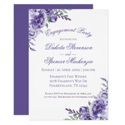 Purple Rose Boho Elegant Watercolor Floral Invitation Zazzle Com