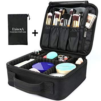 Travel Makeup Train Case Makeup Cosmetic Case Organizer Portable Artist Storage Bag 10 3 With Adjustable Dividers For Cosmet Trousse Maquillage Amazone Pieds