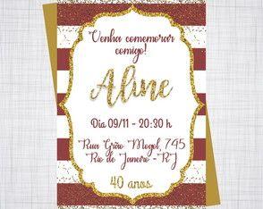 Convite Aniversario 30 40 50 Anos Feminino Convite De