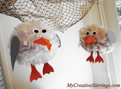 tissue paper sea gulls | These tissue paper seagulls were made by re-using the tissue paper ...