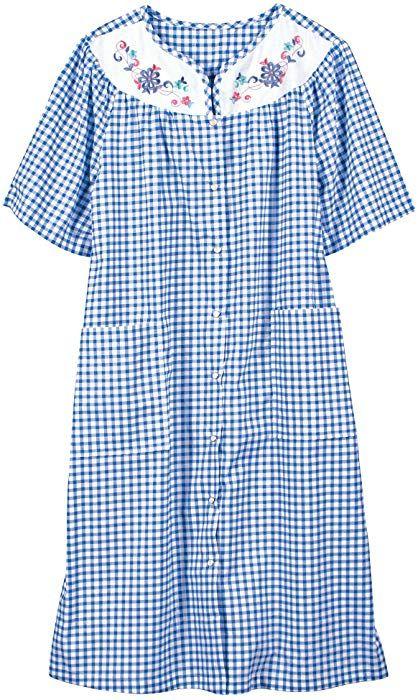 National Checked House Coat Blue Medium At Amazon Women S