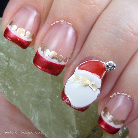 Santa Claus Nail Art French Tip Nail Charm Nails Pinterest