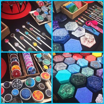 Pics of resin fluid art on coasters, bookmarks, storage tins and wine stoppers.