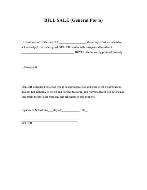 Bill Of Sale Pdf  Printable Template    Real Estate Forms