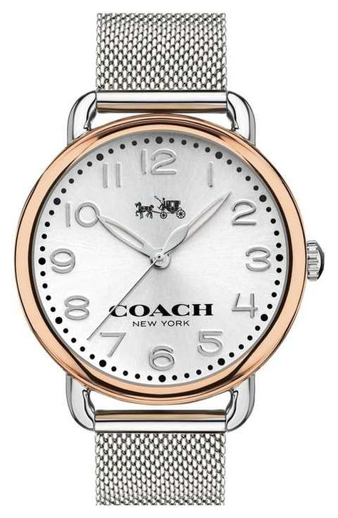 With a rounded, fixed-lug case, the slender Delancey watch echoes the softly shaped hardware of key Coach handbags. The mesh bracelet style features stainless steel and rose-gold hardware, accented wi