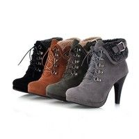 Wish | New Women Fashion Lace Up Platform Pumps Martin Boots With Buckle