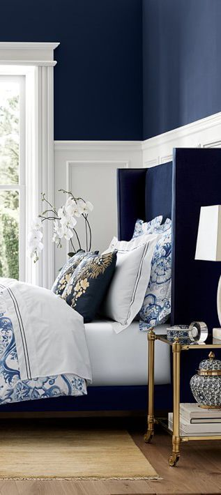Japanese Water Print Bedding Blue Bedroom Ideas How To Decorate With Blue In 2020 Blue Bedroom Decor Navy Blue Bedrooms Blue Bedroom