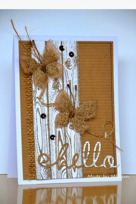 handmade greeting card from M @ rjans blog ... kraft and burlap with white  ... burlap butterflies and fringe ... corrugated kraft ... white woodgrain  ... twine and die cut hello ... fab card!!