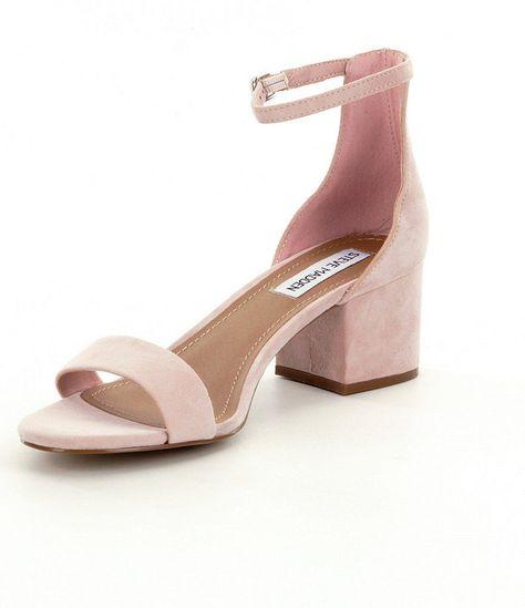 Pink:Steve Madden Irenee Ankle Strap Suede Block Heel Dress