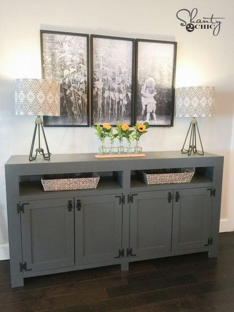 DIY Modern Farmhouse Media Console Table is part of Modern farmhouse diy - I am so excited about how this DIY Modern Farmhouse Media Console Table turned out! We renovated the Berry's home for them on HGTV, & one of the problems Farmhouse Buffet, Farmhouse Tv Stand, Farmhouse Furniture, Modern Farmhouse, Country Furniture, Farmhouse Media Storage, Farmhouse Plans, Modern Rustic, Farmhouse Decor