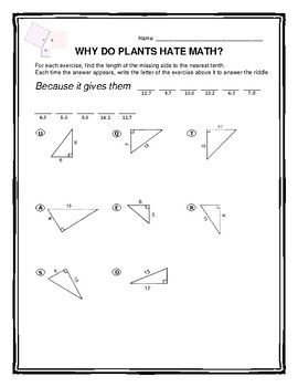 Pythagorean Theorem Riddle Worksheet Pythagorean Theorem Theorems Worksheets