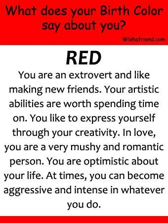 December 23rd 1st January June 25th 4th July Your Birthday Color Is Red Red Symbolizes Attra Birth Colors Psychological Facts About Boys Psychology Facts
