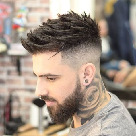 Thick Spiky Hair Fade - Best Men's Hairstyles: Cool Haircuts For Men. Most Popular Short, Medium and Long Hairstyles For Guys hair styles for men Good Haircuts For Men Stylish Haircuts, Cool Haircuts, Hairstyles Haircuts, Haircuts For Men, Men Haircut Short, Short Haircuts, Mens Fade Haircut, Barber Haircuts, Mens Hair Fade