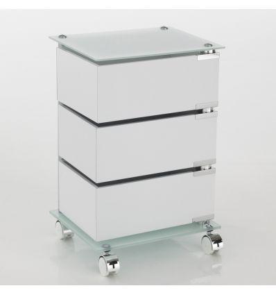 Cassettiera Con Cassetti Vetro.Dennis Cassettiera Con Ruote In Vetro E Legno 3 O 5 Cassetti
