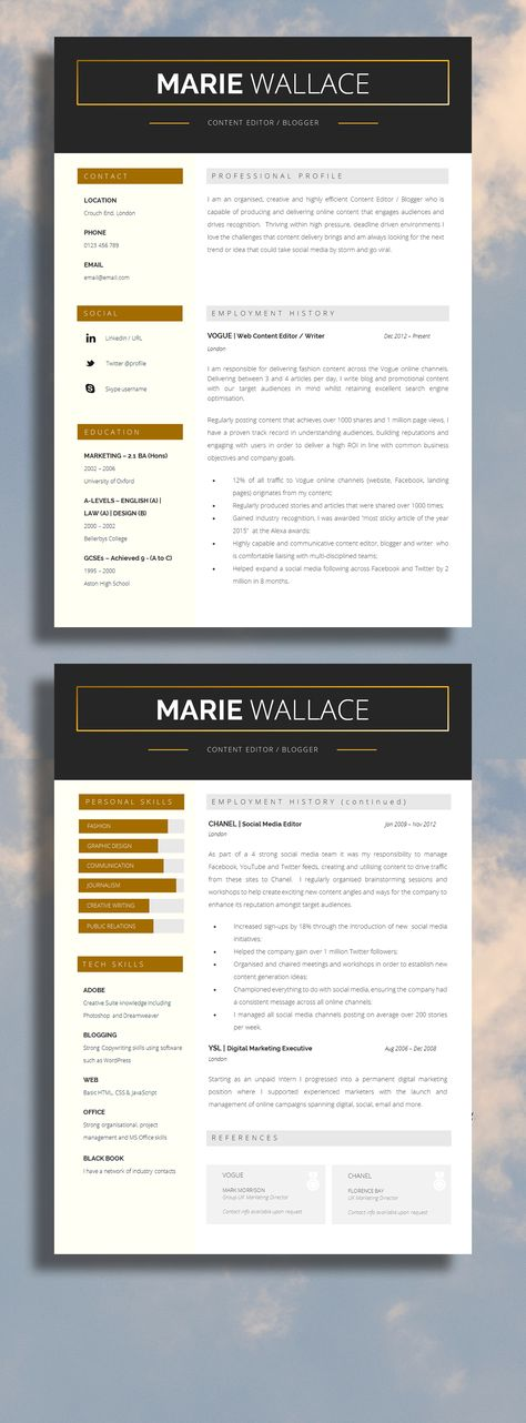 Modern Resume Template Modern CV Template Printable CV For MS