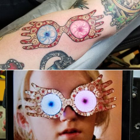 A pair of #spectrespecs from #harrypotter on @samm_rexx. #lunalovegood #tattoo #tattoos #tattooer #art #localcolortattoo #localcolortattoos #alexmillertattoo #westchesterpa #harrypottertattoo - @alexmillertattoo