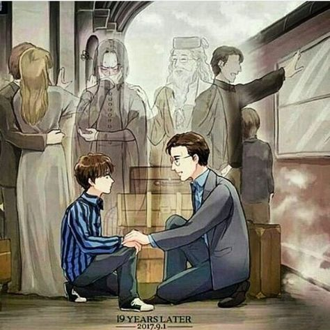 """""""Albus Severus potter you were named after two head masters at Hogwarts and one of them was a slitherine and he happend to be one of the bravest man I ever knowed""""- Harry from harry potter Harry Potter Comics, Fanart Harry Potter, Harry Potter Tumblr, Harry Potter Film, Magia Harry Potter, Estilo Harry Potter, Arte Do Harry Potter, Cute Harry Potter, Harry Potter Artwork"""