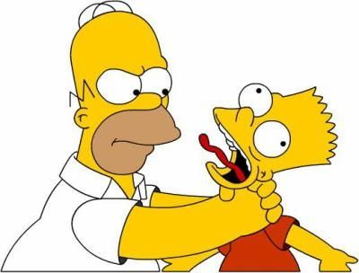 Homer Qui étrangle Bart Dessin Simpson Dessin Animé Et