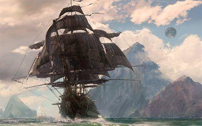 Telecharger Fonds D Ecran Pirates 4k La Mer L Art Le Bateau Pirate Besthqwallpapers Com Bateau Pirate Navire Pirate Bateau Pirate Dessin