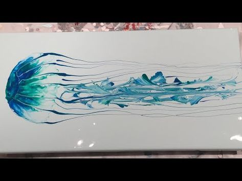 (144) Acrylic Pouring - Flow Art - Jellyfish Using Blowing and String Pull Technique - YouTube