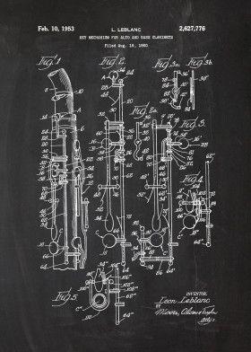 1950 Key Mechanism For Alto An Music Poster Print Metal