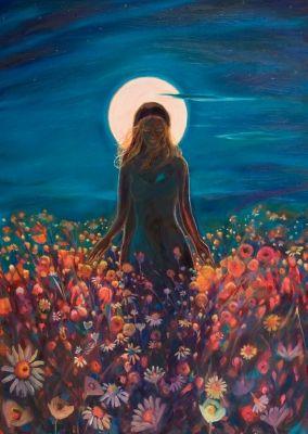 Art - Goddesses, Muses & Spiritual Art, Litha (Celtic Goddess Of Abundance) Celtic Goddess, Celtic Mythology, Goddess Art, Moon Goddess, Art Visionnaire, Psy Art, Sacred Feminine, Summer Solstice, Moon Art