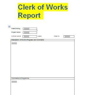 Clerk Of Works Weekly Report Format Doc Engineering Programs