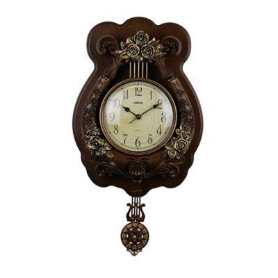 Three Star 23 X 12 Pendulum Wall Clock In Brown Gold Wall Clock Clock Best Wall Clocks