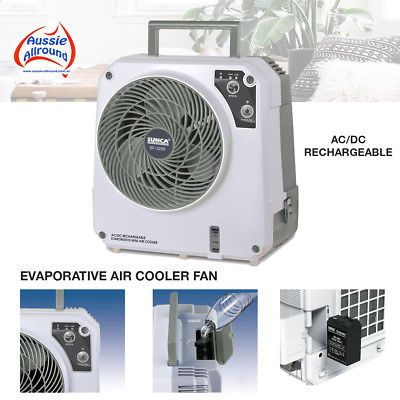12 Volt Rechargeable Evaporative Portable Cooler Fan Air Con Caravan Tent Ac Dc Ebay In 2020 Tent Ac Portable Cooler Cool Tents
