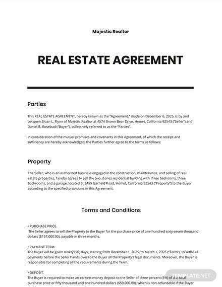Free Sample Real Estate Agreement Template Templates Agreement Word Doc