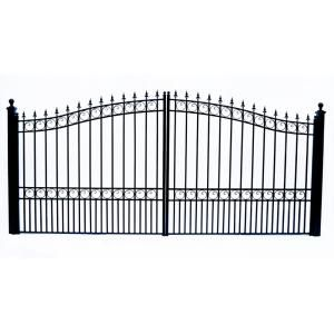 Aleko London Style 14 Ft X 6 Ft Black Steel Dual Driveway Fence Gate Dg14lond Hd The Home Depot Wrought Iron Driveway Gates Wrought Iron Gate Designs Driveway Fence