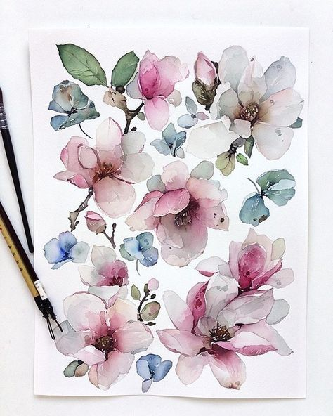 52 Ideas Drawing Flowers Watercolour Water Colors Flower Drawing