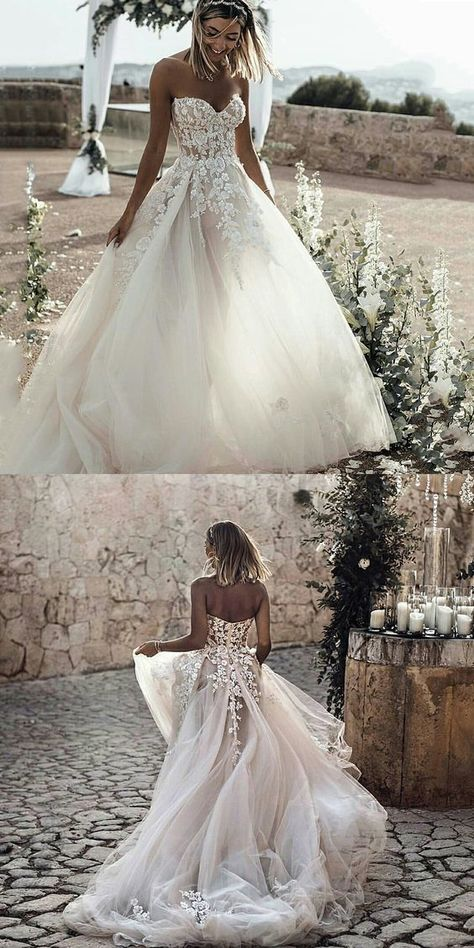 A-Line Sweetheart Court Train Tulle Wedding Dress with Appliques G503 on Storenvy