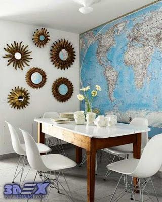World Map Wall Art Decor For Dining Room Interior Design Do You Think To Use World Map Decor In Your Interior Then We Decor Diy Dining Room Dining Room Walls