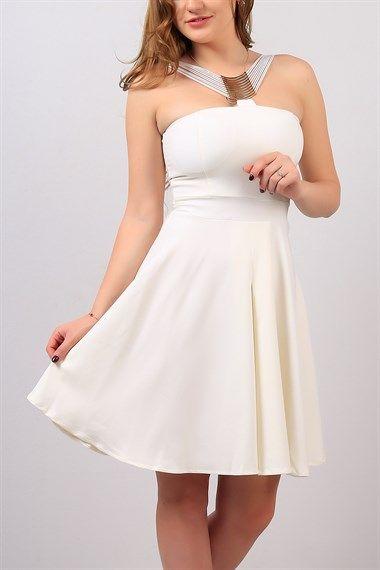 فستان سهرة قصير الياقة حبل رفيع اللون ابيض Trendy In