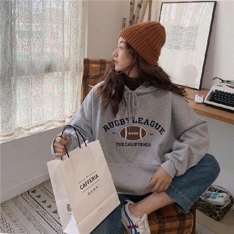Hooded Sweatshirt Womens Korean Fashion Pullover Casual Hoodies Long Sleeve Streetwear Loose Oversized Aesthetic Fall 2021 Women - grey / M