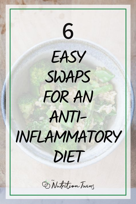 6 Easy Swaps for an Anti-Inflammatory Diet. Include these anti-inflammatory foods and anti-inflammatory recipes to flood your body with antioxidants and fight disease and aging. Perfect for a Mediterranean diet plan. Easy meal prep makes staying healthy more realistic. #antiinflammatory #recipes #healthyrecipes #antiinflammatorydiet For MORE RECIPES, fitness  nutrition tips please SIGN UP for our FREE NEWSLETTER www.NutritionTwins.com