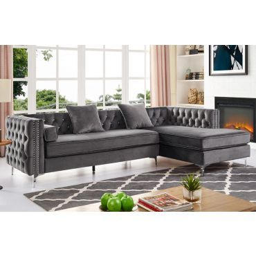 Skinner Crystal Tufted Sectional Grey Velvet With Images