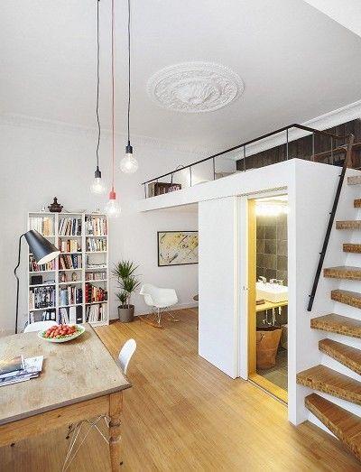 Kleine Wohnung Einrichten Mit Hochbett_coole Ideen Zum 1 Zimmer Wohnung  Einrichten Mit Loft Bed über Bad Und Eingangsbereich | Pinterest | Kleine  Wohnung ... Gallery