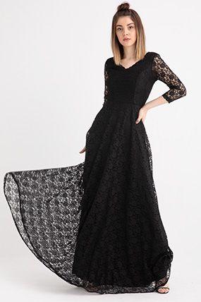3810 2 V Yaka Kristy Dantelli Elbise Elbise V Yaka