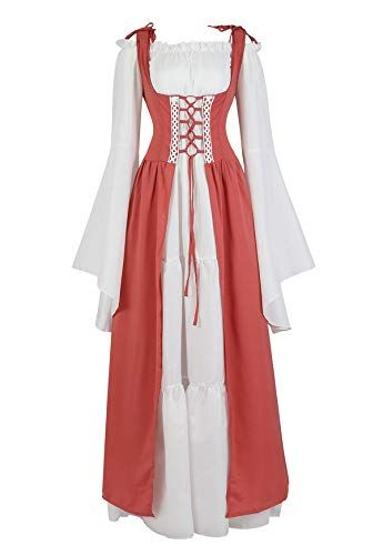 Famajia Womens Renaissance Costume Medieval Irish Over Dress and Trumpet Sleeves Chemise Boho Set