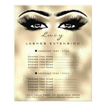 Makeup Artist Beauty Lashes Gold Price List Eyes Flyer Zazzle Com Beauty Lash Makeup Artist Gifts Makeup