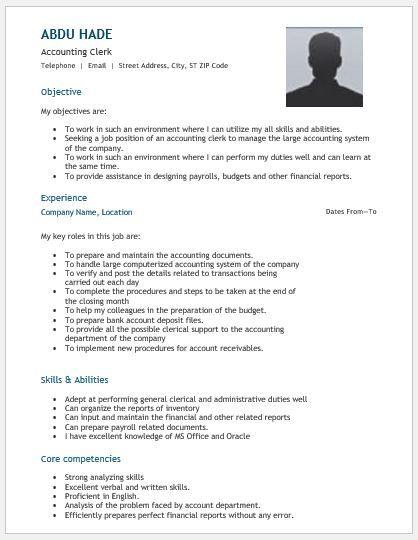 Account representative resume DOWNLOAD at    writeresume2org - accounting clerk duties