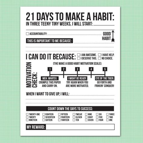 21 days to make a good habit: printable pdf sheet