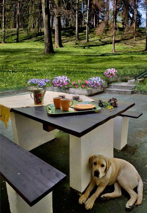 Tavoli Da Giardino In Cemento.Costruire Un Tavolo Da Giardino Tavolo Giardino Giardini In