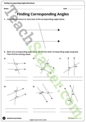 Finding Corresponding Angles Worksheet Angles Worksheet