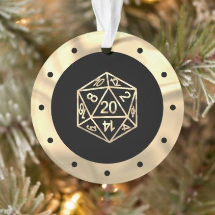 Pnp Christmas Eve 2020 D20 RPG Crit | Gold Fantasy PnP Role Player Dice Ornament | Zazzle