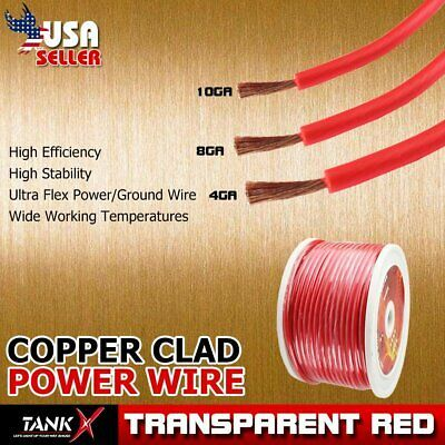 Ad Ebay Lot Power Ground Cable 4 8 10 Gauge Transparent Heavy Duty Auto Stereo System Power Wire Power Cable