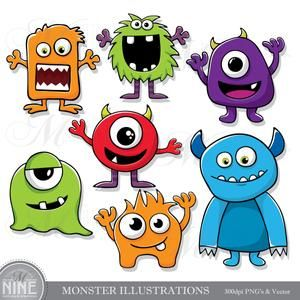 25+ Cute Little Monsters Clipart